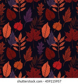 Hand drawn vector illustration. Seamless pattern with fall leaves. Forest background. Colors of Autumn