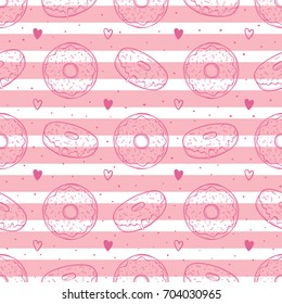 Hand drawn vector illustration - Seamless pattern with tasty donuts. Sketch. Sweet desserts