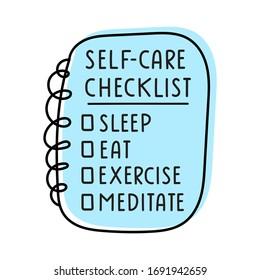Hand drawn vector illustration - self-care checklist.