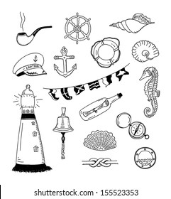 Hand drawn vector illustration set of different sea and sailor doodles objects. Isolated on white background