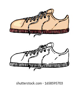 Hand drawn vector illustration. Set of contour and color drawings isolated on white. Summer sneaker. Doodles element for design, cards, prints, posters. Vintage, engraving, sketch in realistic style.