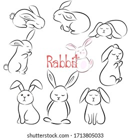 Hand drawn vector illustration set character design of cute rabbit. Doodle style.