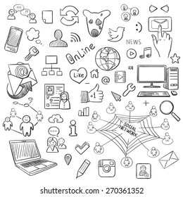 Hand drawn vector illustration set of social media and symbol doodles elements. Isolated on white background