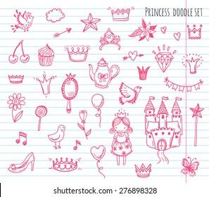 Hand drawn vector illustration set of princess sign and symbol doodles elements.