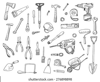 Hand drawn vector illustration set of construction tool  sign and symbol doodles elements.