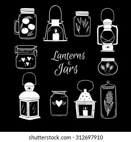 Hand drawn vector illustration - Set of Lanterns and Jars. Design elements.