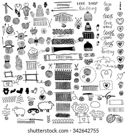 Hand drawn vector  illustration. Set of knitting and crafts.Knit and Crochet. Hat and Snood, mittens and socks.