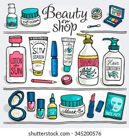 Hand drawn vector illustration set of make up and cosmetics. Make up collection for beauty shop and spa.