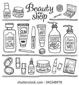 Hand drawn vector illustration set of make up and cosmetics. Black and white make up collection for shop and spa.