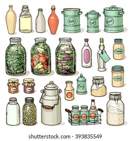 Hand drawn vector illustration set of different shape jars and bottle. Sketch of canning in pastel colors