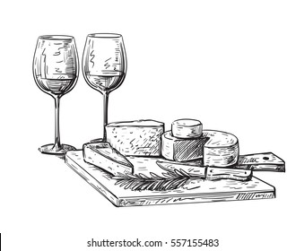 hand drawn vector illustration set of cheese