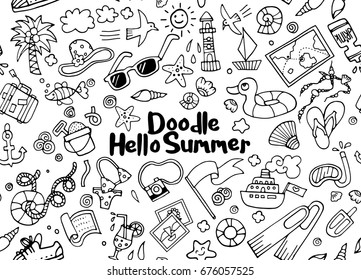 Hand drawn vector illustration set of summer doodles elements.