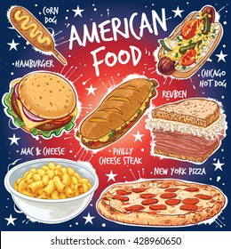 Hand drawn vector illustration of seven popular American Food varieties, including Corn Dog, Chicago Hot Dog, Hamburger, Philadelphia Cheese Steak, Reuben Sandwich, Mac and Cheese, New York Pizza.