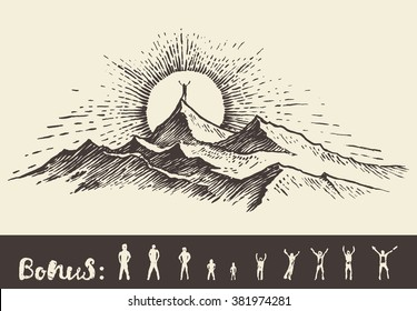 Hand drawn vector illustration, silhouette of a man on the top of the hill against sunrise, sketch