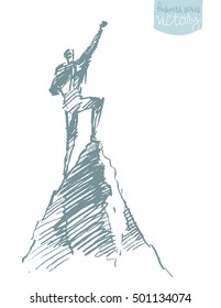 Hand drawn vector illustration, silhouette of a man on top of a hill, winner concept, sketch