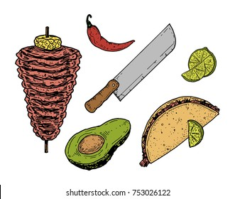 Hand drawn vector illustration of six Tacos al Pastor objects, incluiding Trompo de Pastor, Red Chilli, Taquero Knife, Green Lemon, Avocado and Taco de Pastor.