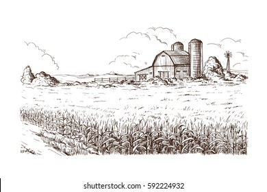 Hand drawn vector illustration sketch rural landscape field house granary