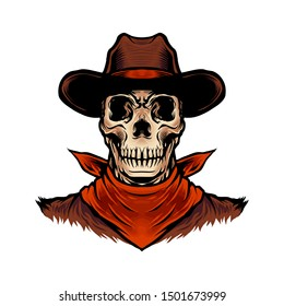 Hand drawn Vector Illustration Skull Cowboy