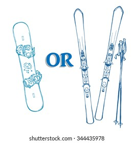 hand drawn vector illustration of snowboard and ski; equipment for winter sports