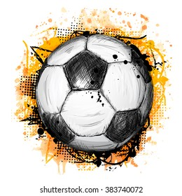Hand drawn vector illustration with soccer or football ball, grunge composition and orange watercolor background, in doodle style