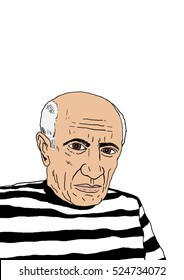 A hand drawn vector illustration of the Spanish artist Pablo Picasso.