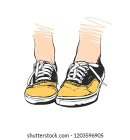 Hand drawn vector illustration - sport shoes, sneakers for summer