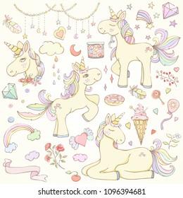 Hand drawn vector illustration of stars, candies, icecream, flowers, leaves, feathers, balloon, heart, rainbow unicorns