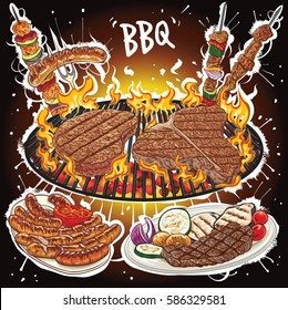 Hand drawn vector illustration of steaks on hot barbecue grill with barbecue varieties.