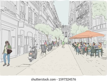 Hand drawn vector illustration. Street scene in Madrid. People enjoy dining on a terrace in the back streets of a Madrid neighborhood. Full color.