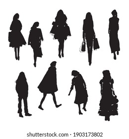 Hand drawn vector illustration: stylized people. Watercolor sketches. Three women fashionably dressed