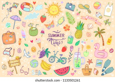 Hand drawn vector illustration with summer time objects and elements.Set of cartoon style isolated doodles and lettering. Funny picture about holidays,beach party,sweeming,travelling.