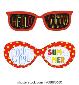 Hand drawn vector illustration of sun glasses, with text Goodbye Summer, Hello Autumn written inside the lenses. Isolated objects on white background. Design concept for change of seasons.