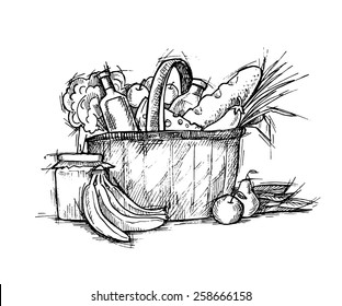 Hand drawn vector illustration - Supermarket shopping basket with healthy food. Grocery store.