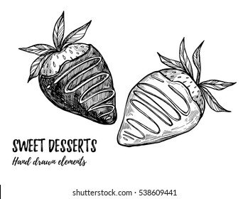 Hand drawn vector illustration - sweet strawberry with white and milk chocolate. Design elements in sketch style. Perfect for menu, cards, blogs, banners, flyers etc