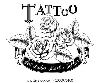 Hand drawn vector illustration of tattoo logo with roses and leaves. Ideal for invitations, greeting cards, quotes, tattoos, textiles, blogs, posters, etc.