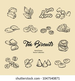 Hand drawn vector illustration with tea biscuits in old style. Vector illustration set of biscuits for cafe menu, logo, banner, flayer in retro hand drawn style. Isolated vector logo for coffee shop.