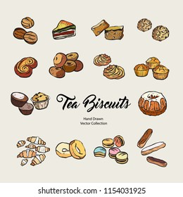 Hand drawn vector illustration with tea biscuits in old style. Vector illustration set of cookies for cafe menu, logo, banner, flayer in retro hand drawn style. Isolated vector logo for coffee shop.