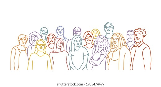 Hand drawn vector illustration of teamwork. Group of people.