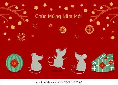 Illustration vectorielle dessinée à la main pour Tet avec des rats mignons, gâteaux de riz, pastèque, fleurs d'abricot, feux d'artifice, texte vietnamien Bonne année. Design à plat. Concept de carte de vacances, affiche, bannière.