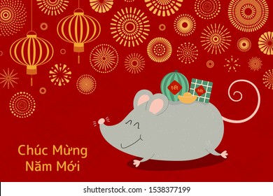 Hand drawn vector illustration for Tet with cute rat carrying rice cake, watermelon, gold, fireworks, lanterns, Vietnamese text Happy New Year. Flat style design. Concept holiday card, poster, banner
