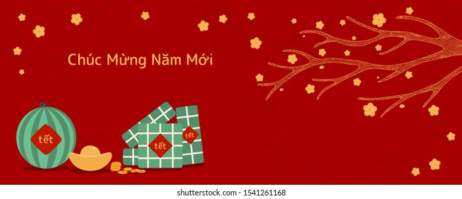 Illustration vectorielle dessinée à la main pour Tet avec gâteaux de riz, or, pastèque, fleurs d'abricot, texte vietnamien Bonne Année, sur fond rouge. Design à plat. Concept carte de vacances, affiche, bannière.