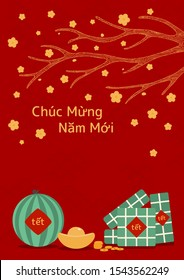 Hand drawn vector illustration for Tet with rice cakes, gold, watermelon, apricot flowers, Vietnamese text Happy New Year, on red background. Flat style design. Concept holiday card, poster, banner.