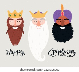 Hand drawn vector illustration of three kings of orient portraits, with lettering quote Happy Epiphany. Isolated objects on gray background. Flat style design. Concept, element for card, banner.