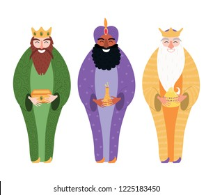 Hand drawn vector illustration of three kings of orient with gifts. Isolated objects on white background. Flat style design. Concept, element for Epiphany card, banner.