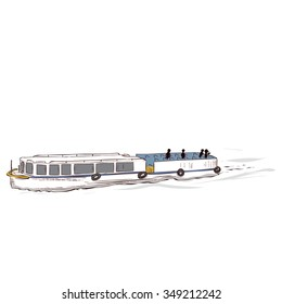 Hand drawn vector illustration. Tourist cruise boat on the river.