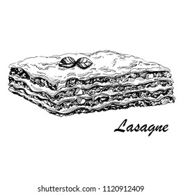 Hand drawn vector Illustration of traditional Italian beef lasagne.Italian cuisine.Sketch. Can be used for menu, cafe, restaurant,