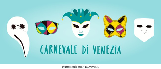 Hand drawn vector illustration with traditional Venetian carnival masks arlecchino, bauta, doctor plague, Italian text Carnevale di Venezia. Flat style design. Concept carnival poster, flyer, banner.