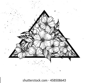 Hand drawn vector illustration - triangle with flowers and leaves. Perfect for invitations, greeting cards, quotes, tattoo, textiles, blogs, posters etc.