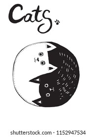 Hand drawn vector illustration of two cats as a symbol of yin yang.  Cartoon style characters.