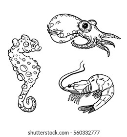 Hand drawn vector illustration with underwater animals - contour, line art style drawing. Could be used as print, wrapping paper, background and textile ornament, poster, book page.